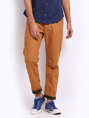 Breakbounce Men Rust Orange Storm Tapered Fit Trousers