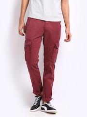 Breakbounce Men Maroon Phoenix Buddy Regular Fit Cargo Trousers