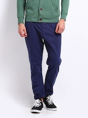 Breakbounce Men Blue Cayman Polite Hug Tapered Fit Trousers