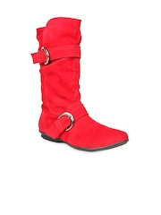 Bruno Manetti Women Red Suede Boots