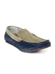 Buckaroo Men Beige & Navy Suede Casual Shoes