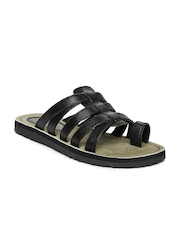 Buckaroo Men Black Leather Sandals