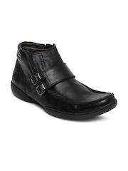 Buckaroo Men Black Fausto Leather Casual Shoes