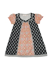 Budding Bees Girls Black & Orange Printed Dress