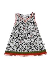 Budding Bees Girls Black & White Printed Dress