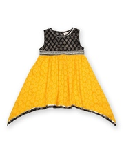 Budding Bees Girls Yellow & Black Printed Fit & Flare Dress