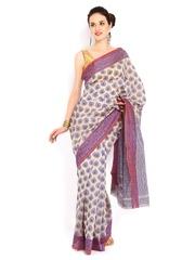 Bunkar Beige & Blue Cotton Fashion Saree