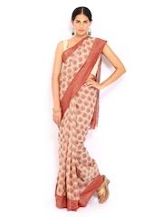 Bunkar Beige & Red Cotton Traditional Saree
