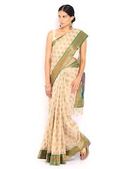 Bunkar Beige Super Net Cotton Fashion Saree