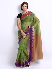 Bunkar Green Cotton Fashion Saree