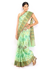 Bunkar Green Super Net Traditional Saree