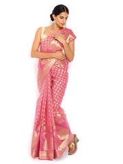 Bunkar Pink Cotton Traditional Saree