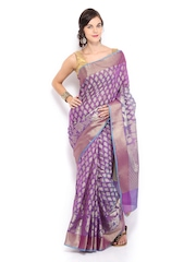 Bunkar Purple & Blue Super Net Traditional Saree