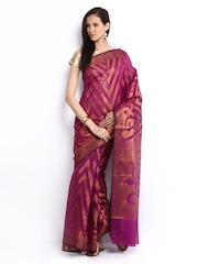 Bunkar Magenta Cotton Fashion Saree