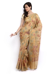 Bunkar Beige Cotton Fashion Saree