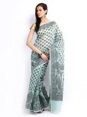 Bunkar Green & Black Cotton Fashion Saree