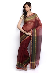 Bunkar Maroon Cotton Fashion Saree