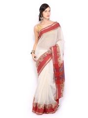 Bunkar Off-White Super Net Traditional Saree