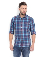 Burnt Umber Men Blue & Red Checked Casual Shirt