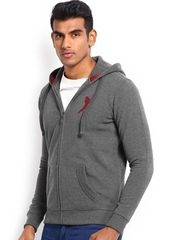 Burnt Umber Men Dark Grey Hooded Sweatshirt