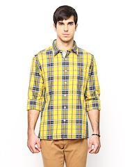 Burnt Umber Men Yellow & Blue Checked Slim Fit Casual Shirt