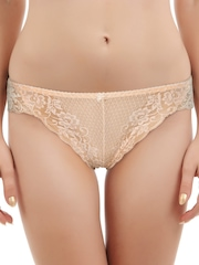 Bwitch Women Peach Lace Bikini Brief