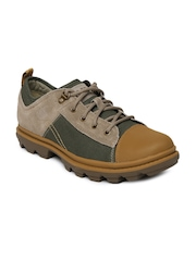 CAT Men Brown & Olive Green Runyan Canvas Casual Shoes