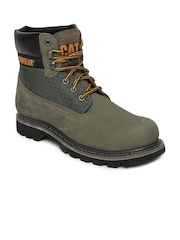 CAT Men Green Colorado Leather Boots