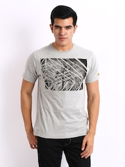 CAT Men Grey Printed T-shirt