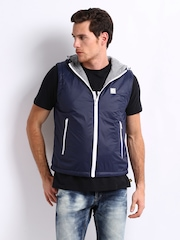 CAT Men Navy Hooded Sleeveless Jacket