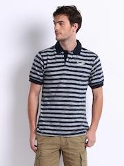 CAT Men Navy & Grey Striped Polo T-shirt
