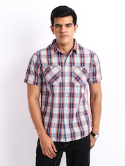CAT Men Blue & Orange Checked Casual Shirt