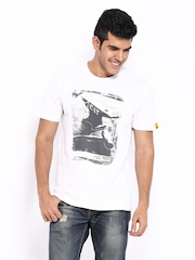 CAT Men White Printed T-shirt