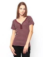 CAT Women Burgundy & White Striped Top