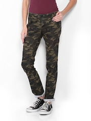 CAT Women Olive Green Camouflage Print Skill Skinny Fit Trousers