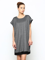 CHM Charcoal Grey Pinstriped Shift Dress