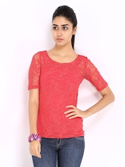Code Women Red Crochet Lace Top