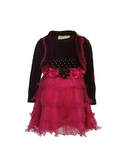 CUTECUMBER Girls Red & Pink Fit & Flare Dress