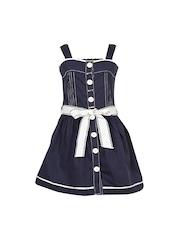 CUTECUMBER Girls Navy Blue Fit & Flare Dress