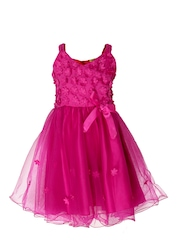 CUTECUMBER Girls Fuchsia Pink Fit & Flare Dress