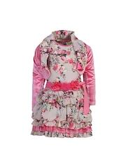 CUTECUMBER Girls Pink Printed Fit & Flare Dress