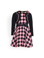 CUTECUMBER Girls Pink Fit & Flare Checked Dress