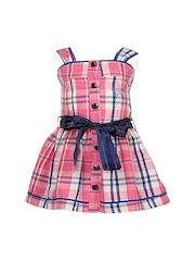 CUTECUMBER Girls Pink & Blue Fit & Flare Checked Dress