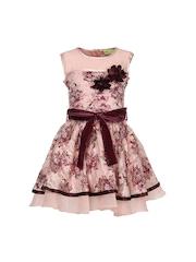 CUTECUMBER Girls Peach Coloured & Maroon Printed Fit & Flare Dress