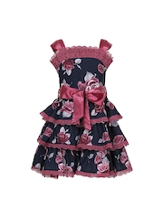 CUTECUMBER Girls Navy Printed Fit & Flare Dress