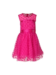 CUTECUMBER Girls Pink Fit & Flare Dress