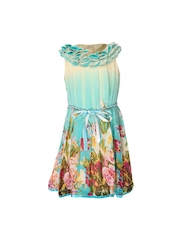 CUTECUMBER Girls Turquoise Blue Printed Fit & Flare Dress