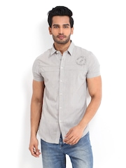 Calvin Klein Jeans Men Grey Striped Casual Shirt