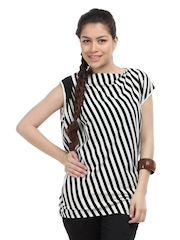 Calvin Klein Jeans Women Black & cream Asymmetrical Gathered Striped Top