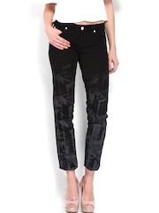 Calvin Klein Jeans Women Black Printed Skinny Fit Jeans